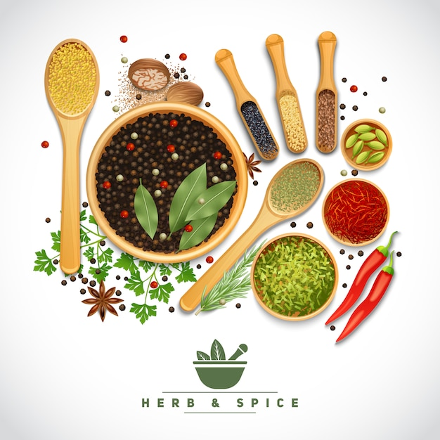 Herb and spice poster Gratis Vector