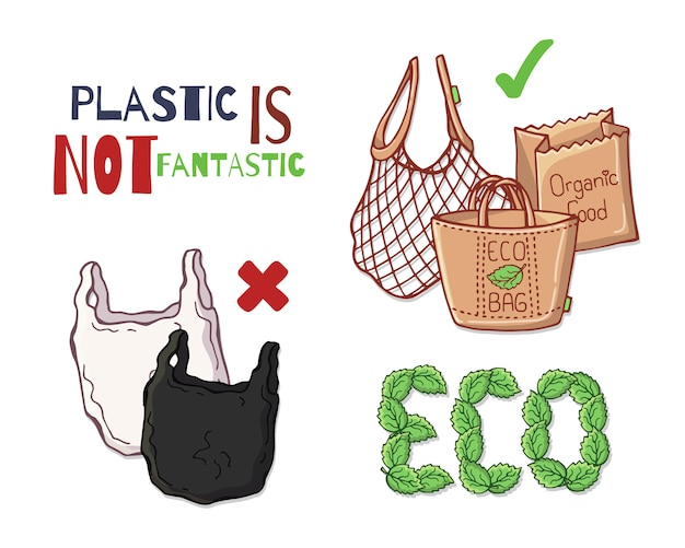 Herbruikbare items in plaats van plastic. Premium Vector