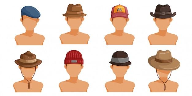 Heren hoeden set. collectie herenhoofd. userpics van kapsel verschillende man. Premium Vector