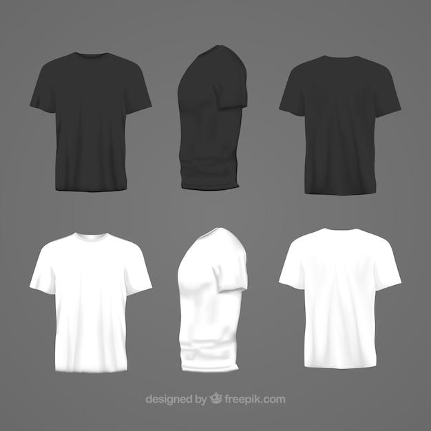 Heren t-shirt in verschillende opvattingen met realistische stijl Premium Vector