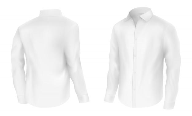 Heren wit shirt met lange mouwen, half omgeslagen Gratis Vector