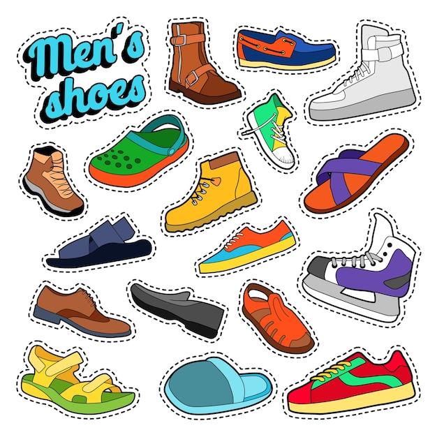 Herenmode schoenen en laarzen instellen voor stickers, prenten. vector doodle Premium Vector