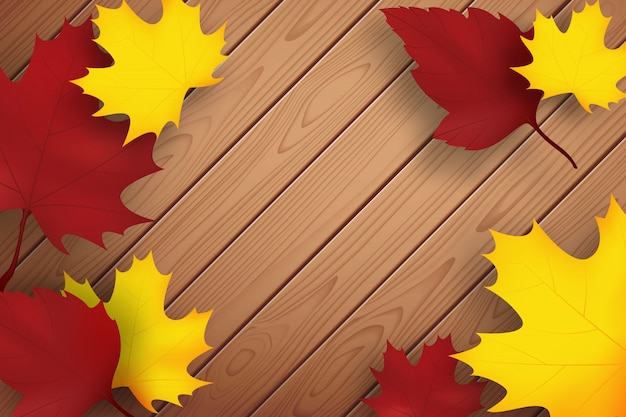 Herfst achtergrond. houten planken en gevallen bladeren Premium Vector
