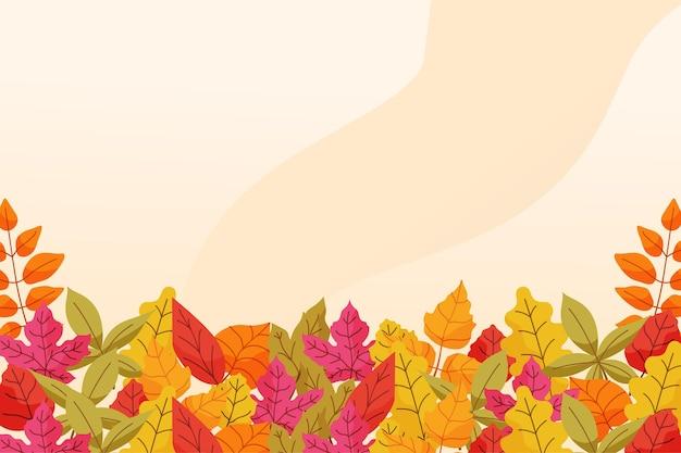 Herfst achtergrond in platte ontwerp Gratis Vector