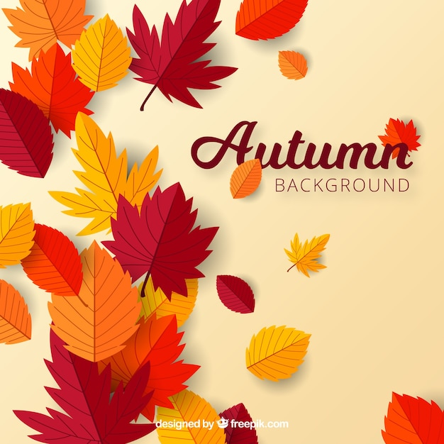 Herfst achtergrond met platte bladeren Gratis Vector