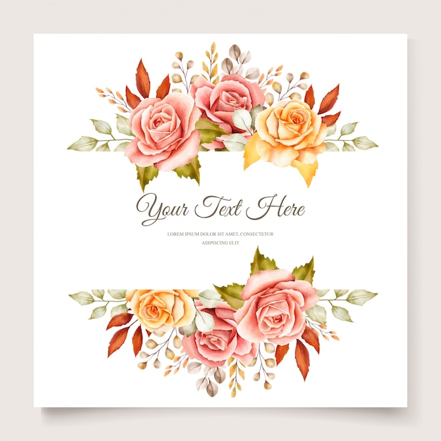 Herfst aquarel bloemen uitnodigingskaart Gratis Vector