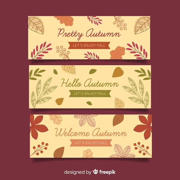 Herfst banners collectie vlakke stijl Gratis Vector