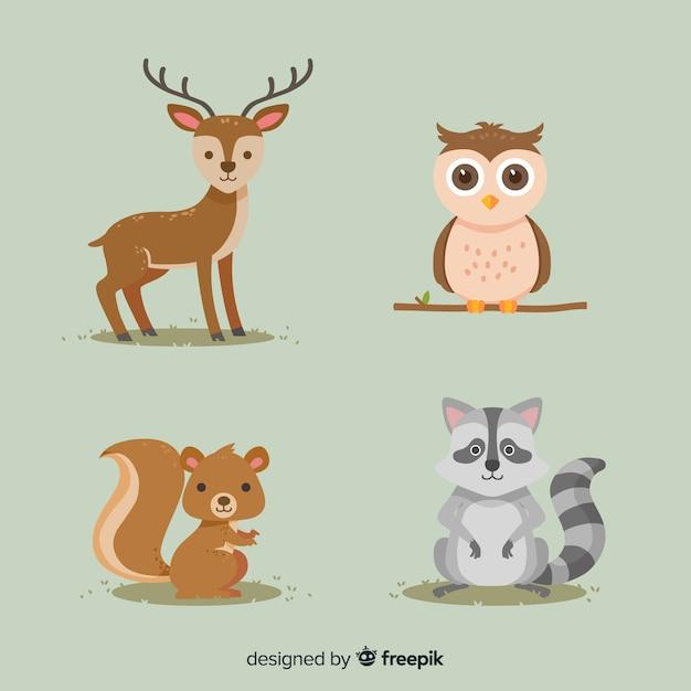 Herfst bos dieren platte ontwerp Gratis Vector