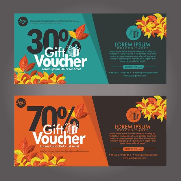 Herfst cadeaubon kortingskaarten sjabloon Premium Vector