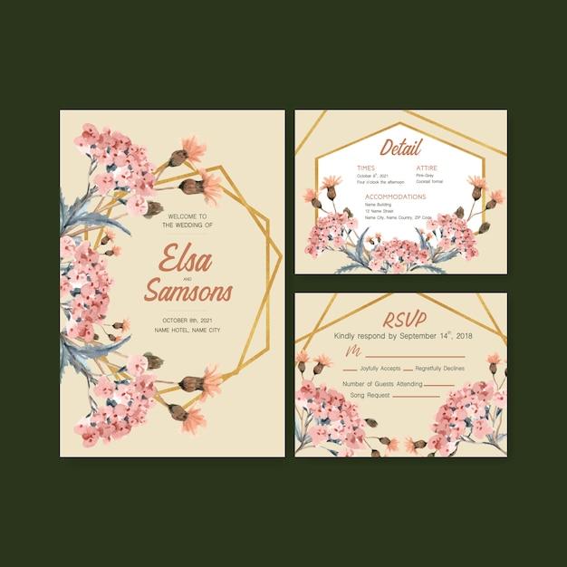 Herfst dagelijkse sjabloonontwerp voor bruiloft kaart en uitnodiging aquarel Gratis Vector