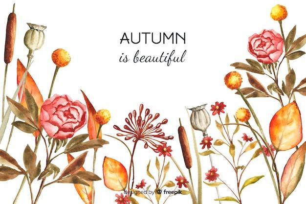 Herfst decoratieve achtergrond aquarel stijl Gratis Vector