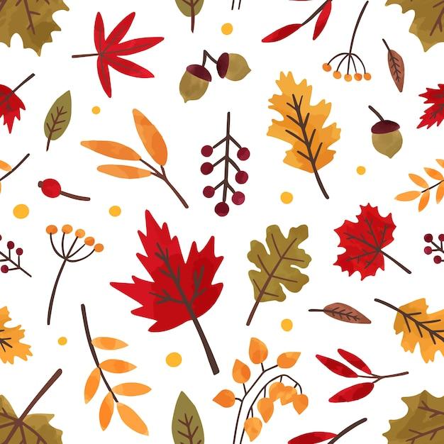 Herfst gebladerte hand getekende vector naadloze patroon. verschillende boombladeren en bessen decoratieve textuur. herfst seizoen gebladerte, bosflora vlakke afbeelding. bloemen textiel, behangontwerp. Premium Vector