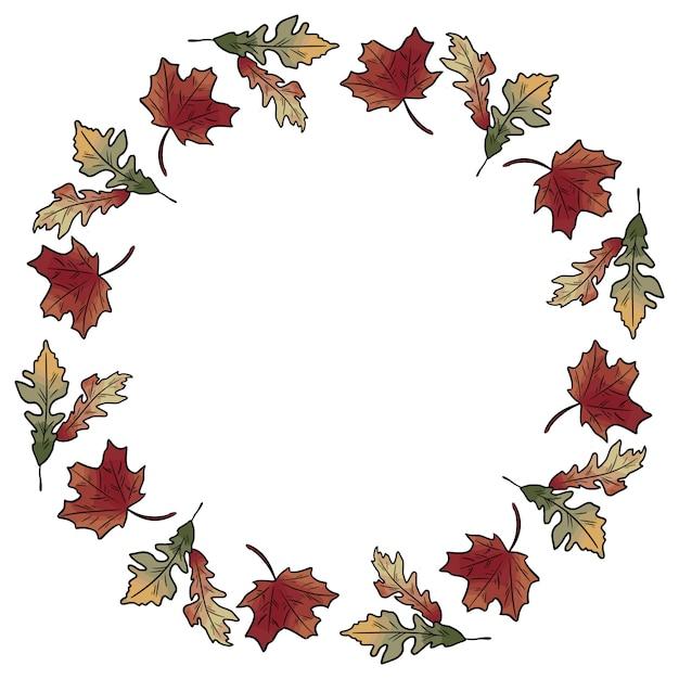 Herfst herfstbladeren krans ornament Premium Vector