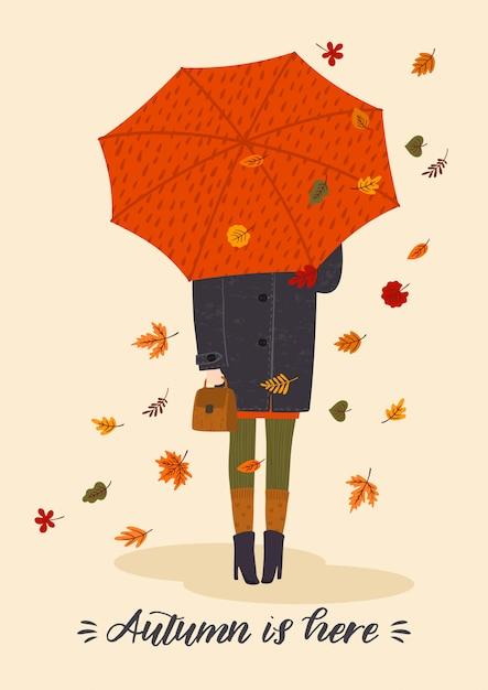 Herfst illustratie met schattige vrouw onder paraplu Premium Vector