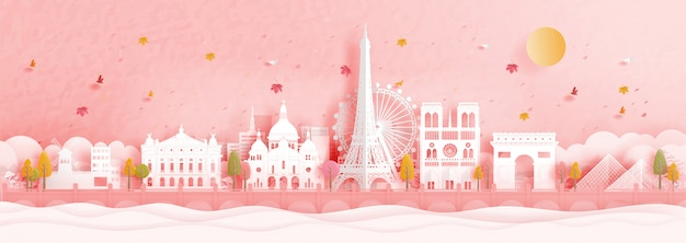 Herfst in parijs, frankrijk met beroemde bezienswaardigheid Premium Vector