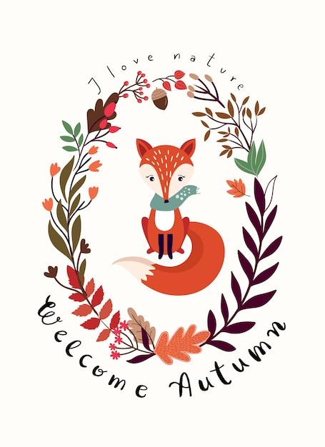 Herfst kaart ontwerp met seizoensgebonden krans en vos Premium Vector