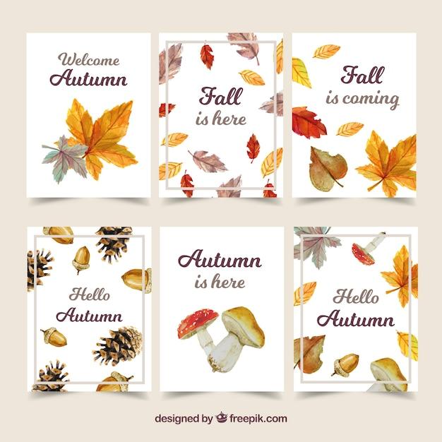Herfst kaarten collectie met kleurrijke bladeren Gratis Vector