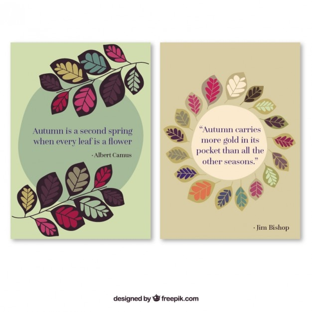 Citaten Herfst Free : Herfst kaarten met leuke quotes vector gratis download