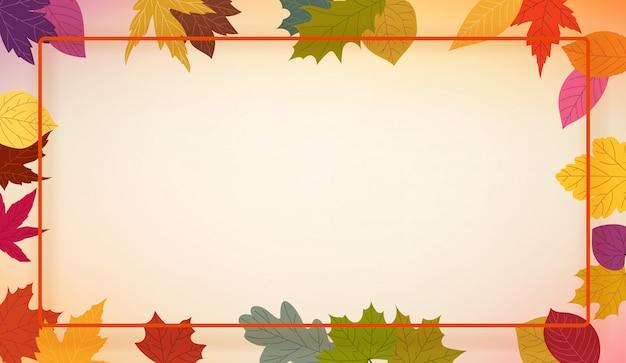 Herfst kleurrijke bladeren frame, Premium Vector