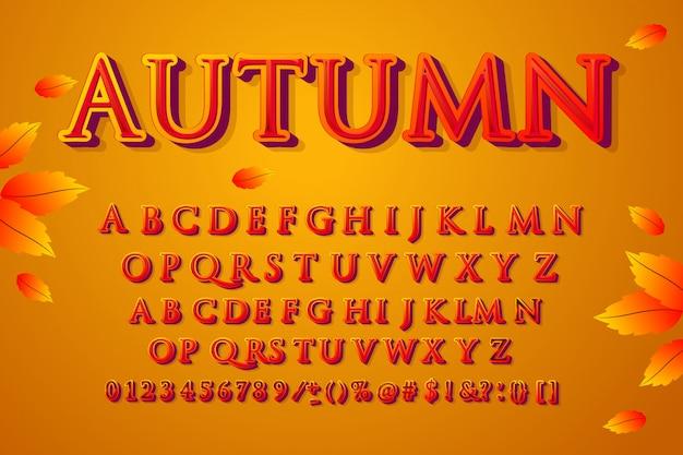 Herfst lettertype. alfabet, tekenset, lettertype, typografie, letters en cijfers. Premium Vector
