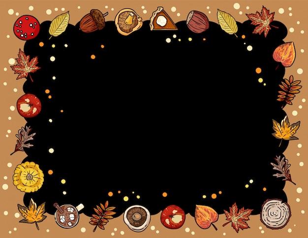 Herfst leuke gezellige schoolbord banner met trendy herfst elementen Premium Vector