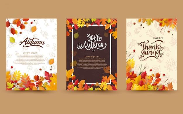 Herfst met mooie bladeren. Premium Vector