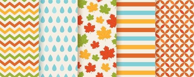 Herfst naadloze patroon. . achtergrond met herfstbladeren. Premium Vector