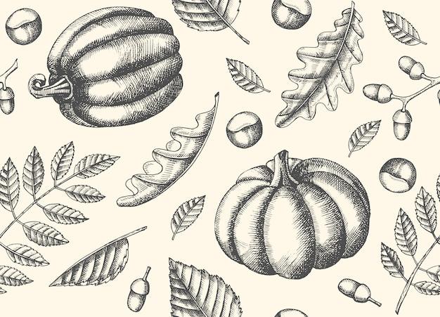 Herfst naadloze patroon met hand getrokken bladeren en pompoenen. bladeren van esdoorn, berk, kastanje, eikel, essenboom, eik. schetsen. voor behang Premium Vector