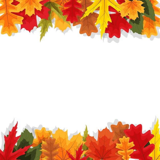 Herfst natuurlijke bladeren achtergrond Premium Vector
