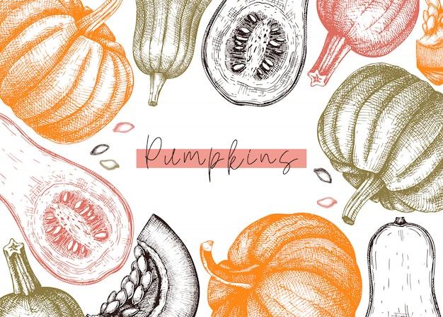 Herfst oogstfeest. traditionele thanksgiving day bovenaanzicht. herfst seizoen achtergrond met hand getrokken planten, fruit, groenten, paddestoelen illustratie. traditionele voedselingrediënten Premium Vector