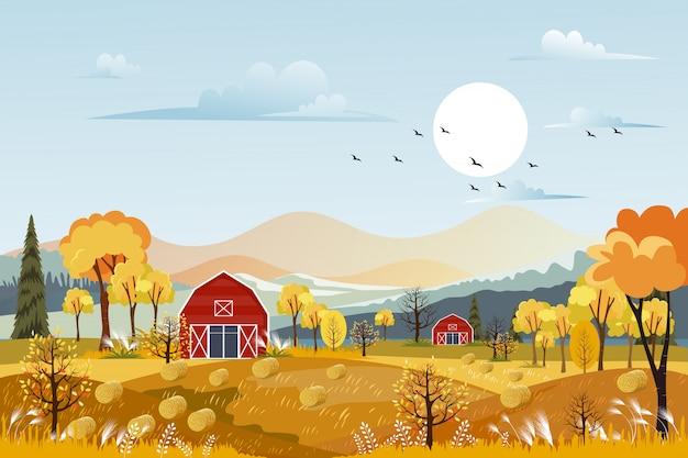Herfst panorama landschap boerderij veld met oranje hemel Premium Vector
