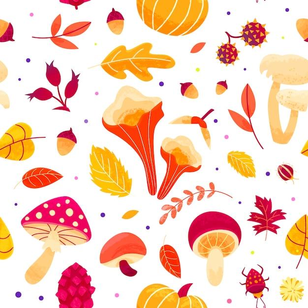 Herfst patroon met bladeren, champignons, twijgen, kevers en zaden. herfst seizoen naadloos ontwerp. Premium Vector
