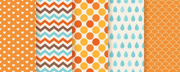 Herfst patroon. . naadloze textuur afdrukken met zigzag, polka dot, harten en visschaal. stel seizoensgebonden geometrische achtergronden in. kleurrijke cartoon afbeelding. leuk abstract behang. vlak Premium Vector
