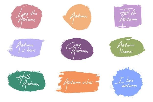 Herfst penseel badge collectie Gratis Vector