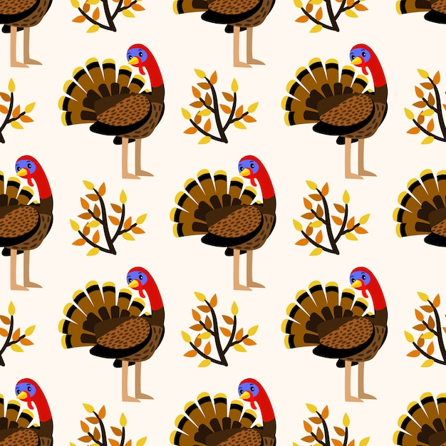 Herfst schattig naadloze patroon met vogels van turkije Premium Vector