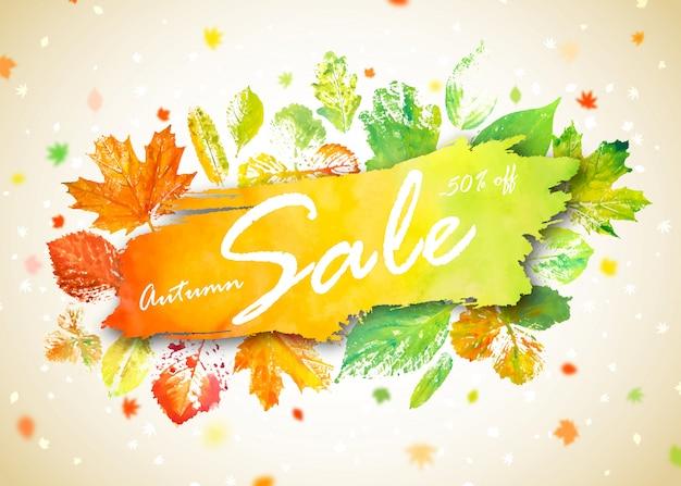 Herfst seizoen verkoop banner. concept herfst reclame met hand getrokken aquarel herfstbladeren Premium Vector