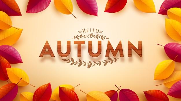 Herfst sjabloon voor spandoek met houten geweven lettertype en kleurrijke herfstbladeren op geel Premium Vector