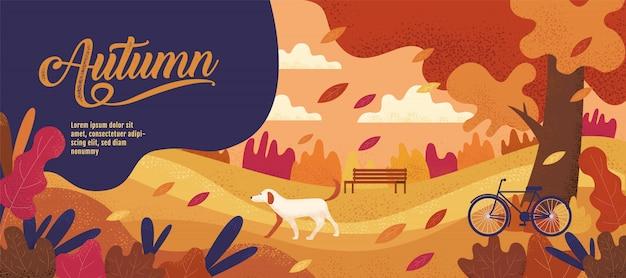 Herfst, sjabloon voor spandoek, thanksgiving, cartoon Premium Vector