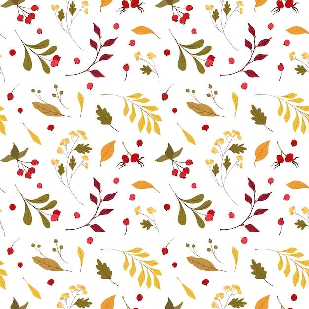 Herfst stemming platte vector naadloze patroon. wind geblazen, drijvende gele eik, esdoornbladeren. herfst wilde bloemen en cranberry. Premium Vector