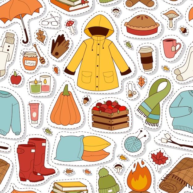 Herfst stickers naadloze patroon. Premium Vector