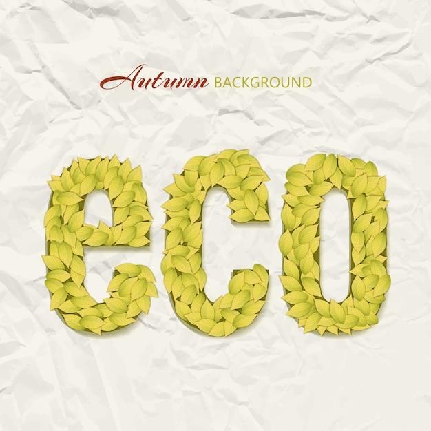 Herfst thema-ontwerp op gerimpeld papier met eco letters samengesteld uit gele bladeren Gratis Vector