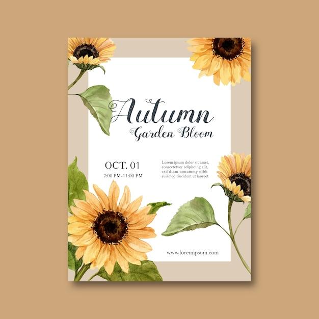 Herfst thema poster met planten Gratis Vector