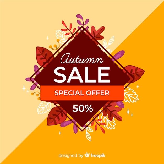 Herfst verkoop achtergrond vlakke stijl Gratis Vector