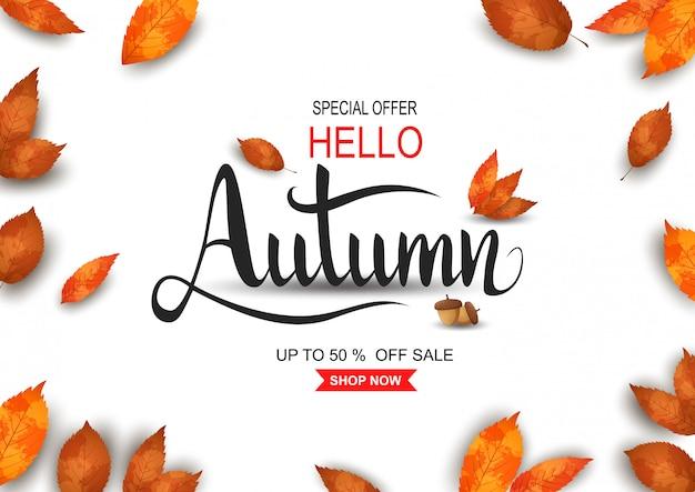 Herfst verkoop achtergrond Premium Vector