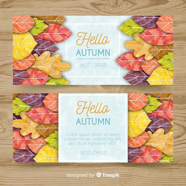 Herfst verkoop banner instellen in aquarel stijl Gratis Vector