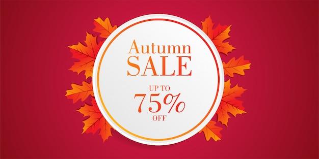 Herfst verkoop banner met bladeren Premium Vector