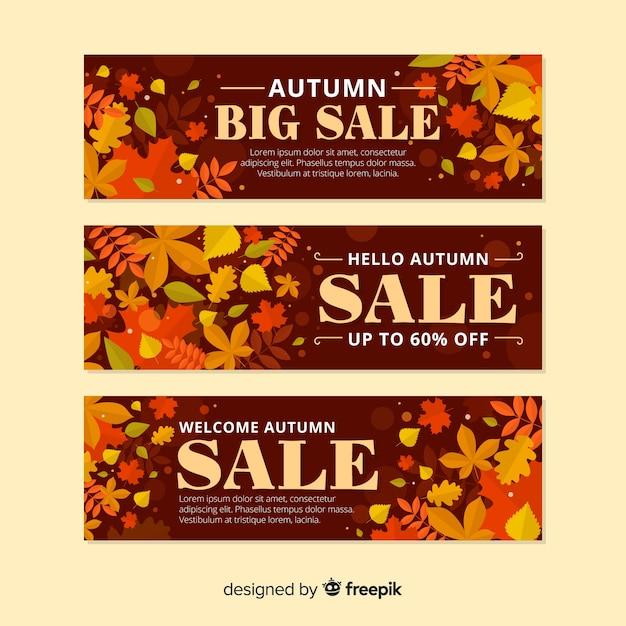 Herfst verkoop banner platte ontwerp Gratis Vector