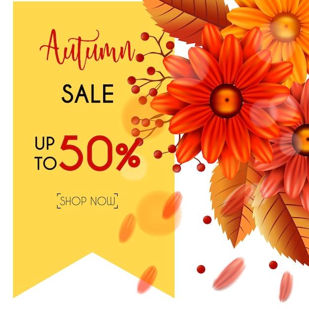 Herfst verkoop banner set met bladeren en bloemen Premium Vector