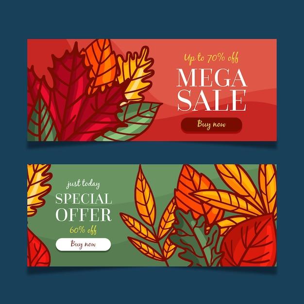 Herfst verkoop banners instellen Gratis Vector