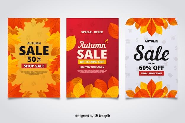 Herfst verkoop banners vlakke stijl Gratis Vector